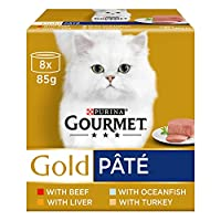 GOURMET Gold Paté multipack contains delicious recipes with Ocean Fish, Liver, Turkey, Beef 100% complete and balanced nutritional pet food for adult cats (aged 1 to 7) Offers your cat the pleasure of a delicate and smooth sensation Served in 85g can...
