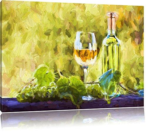 goede wijn en druivenFoto Canvas | Maat: 120x80 cm | Wanddecoraties | Kunstdruk | Volledig gemonteerd