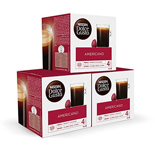 Nescafé DOLCE GUSTO Café AMERICANO - Pack de 3 x 16 cápsulas - Total: 48 Cápsulas