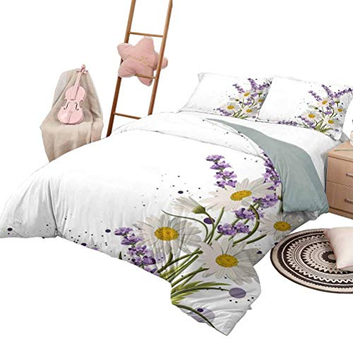 DayDayFun Duvet Cover Set Lavender 3 Piece Bedspreads Coverlet Vivid Bouquet with Daisies Color Slashes Scenic Modern Artistic King Size Lilac Reseda Green Marigold