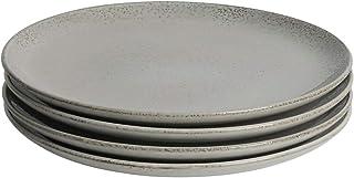ProCook Oslo Coupe - Vaisselle de Table en Grès - 4 Pièces - Grande Assiette Plate - 28cm - Glaçure Réactive - Gris