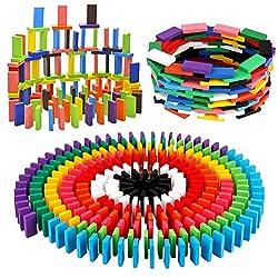 in budget affordable BigOtters 360PCS Super Domino Block, 12 Color Wooden Block Domino Building Block Tile Game …