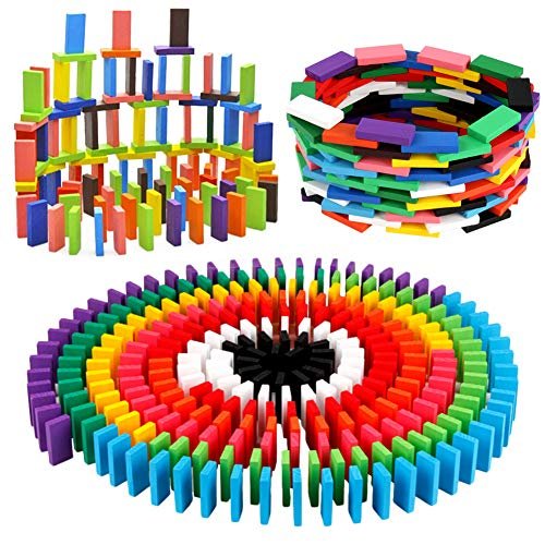 BigOtters 360PCS Super Domino Blocks 12 Colors Wooden Domino Blocks Building Block Tile Game Racing Educational Toy for Kids Birthday Party Favor
