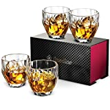 Premium Diamond Whiskey Glasses - Set of 4 Scotch Glasses with Beautiful Gift Box- Large 10oz Whiskey Glass set- Liquor Alcohol Bourbon Scotch Cocktails & Old Fashioned Glasses