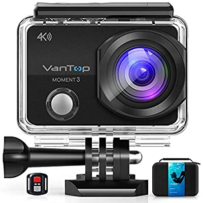 VanTop Moment 3 4K Action Camera w/Gopro Compatible Carrying Case,Remote Control,16MP Sony Sensor,30M Waterproof Camera w/Gopro Compatible Accessories,2 Batteries,170° Ultra Wide Angle by VanTop