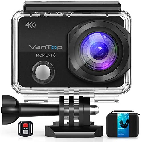 VanTop Moment 3 4K Action Camera w Gopro Compatible Carrying Case Remote Control 16MP Sony Sensor product image
