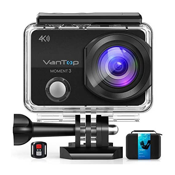 VanTop Moment 3 4K Action Camera w/Gopro Compatible Carrying Case,Remote Control,16MP Sony Sensor,30M Waterproof Camera… 1 【Stunning 4K Technique & Superb Sony Sensor】Optional 4K@30fps, 2.7K@30fps,1080P@60fps,720P@120fps resolutions, high sensitive Sony sensor with improved image focusing, processing speeds. Moment 3 action camera empowers you to capture any memorable moment without any compromise. Stunning 4K video and 16MP photos in Single, Burst and Time Lapse modes. 【Irresistible & Indispensable Accessories】Exclusively customized carrying case for the action camera and accessories: compatible with all Gopro cameras including Gopro HERO 7, Gopro HERO 6. Compact case to keep your action camera-Moment3 and accessories safe, protected and organized. Selected 21 gopro compatible accessories awaits your discovery. (SD Card excluded) 【170°Ultra-Wide Lens & Multiple Modes】Discover a big big world your eyes can reach with the intergraded 170 degrees ultra-wide lens. Burst Shooting, loop recording makes it possible to find the perfect moment afterwards. Time-lapse and slow motion exceed human vision with surprising fun.