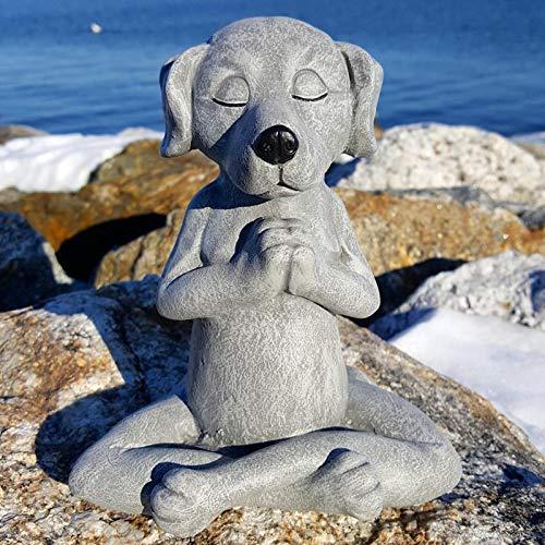 Dog Statue Zen Buddha, Meditation Dog Statue-Yoga Dog Garden Statue Decoration, Spring Home Indoor Outdoor Decoration, Animal Sculpture Decor for Patio, Garden and Porch (A)