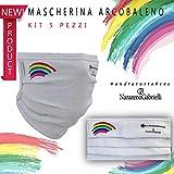 5 mascherine arcobaleno, sterilizzabili, lavabili e riutilizzabili, unisex