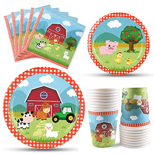 WERNNSAI Farm Animals Party Tableware Set - Barnyard Party Supplies Include Luncheon Napkins Dinner dessert Plates BPA free Cups for Kids Birthday Baby Shower Serves 16 Guests 64PCS
