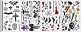 4 Hojas de Tatuajes de Halloween, Cicatrices de Zombies, Pegatinas de heridas de Terror, Sangre Falsa, Taro, murciélagos, Gatos Negros, Cuervos, Telas de araña, Calabazas, Fantasmas, etc.