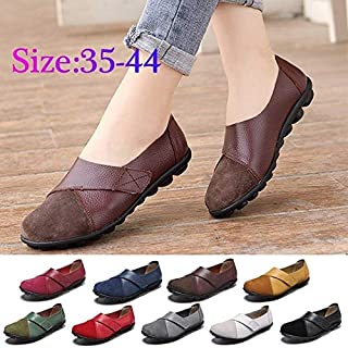 2019 New Women Fashion Slip on Shallow Flats Splicing Leather Hook Loop Soft Sole Casual Flat Loafers Summer Sandals Plus Size 35-44(Blue,9)