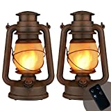 Led Vintage Lantern,Outdoor Hanging Camping Lanterns Flickering Flame Tent Light with Two Modes Night Lights Decorative for Yard Patio Garden Party Indoor with Remote Control Battery Operated