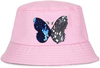 Women's Folding Bucket Hat Butterfly Shiny Sequin Flat top Thread Sunscreen Fisherman Cap