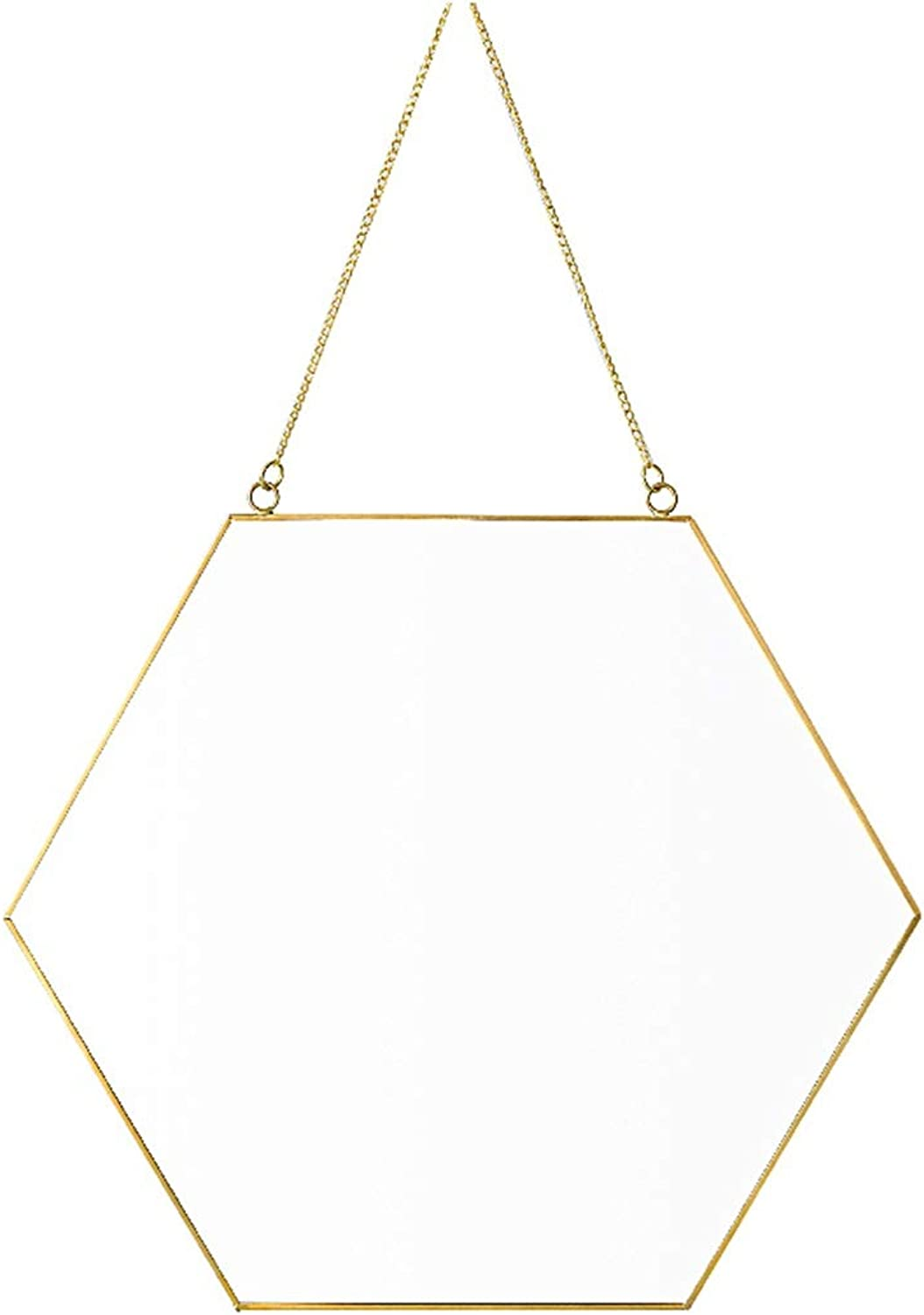 Hanging Wall Mirror Makeup Dressing Home Decor in Bathroom & Bedroom Shaving Iron Mirrors with Hanging Chain Metal Frame (9.4 inch 12 inch 15.7 inch)