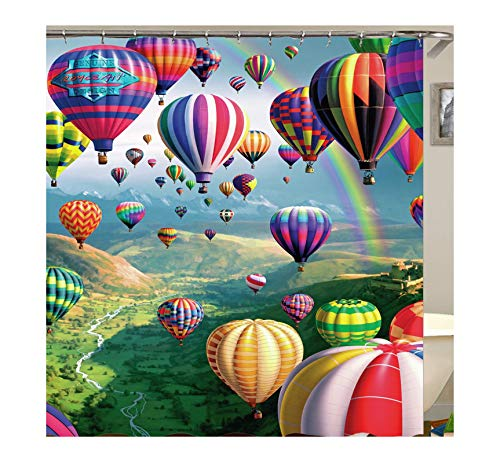 Coniea Extra Langer Duschvorhang Bunte Luftballons Duschvorhang Bunt Bad Vorhang Anti-Schimmel 120X180Cm