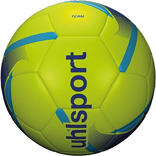 Uhlsport Unisex – Pallone da calcio per adulti, giallo fluo/blu/ciano, 4