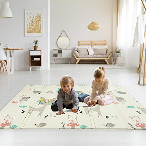 Colchoneta Infantil Plegable, Antideslizante Alfombrilla de juegos para bebé, Extragrande Alfombra de Doble Cara - reversible, impermeable, No Tóxico, 200 x 180 x 1.5CM