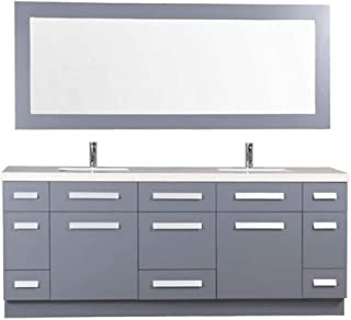Design Element J72-DS-G Moscony 72 Inch Double Sink Bathroom Vanity Set with Quartz Counter top with Matching Mirror in Gray