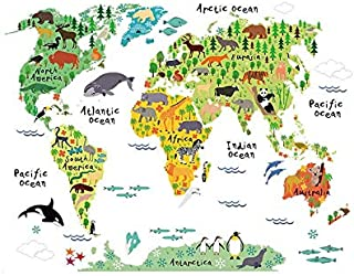 Zy037 New Animal World Map Bedroom Living Room Wall Sticker Foreign Trade Wholesale Waterproof Removable