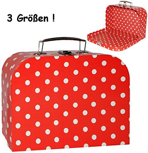 alles-meine.de GmbH 1 Stück _ Koffer / Kinderkoffer - MITTEL -  Punkte - rot & weiß  - 25 cm - ideal für Spielzeug und als Geldgeschenk - Mädchen & Jungen - Pappkoffer - Puppen..