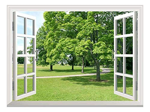 wall26 Removable Wall Sticker/Wall Mural - Park with Green Trees   Creative Window View Wall Decor - 24'x32'