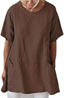 UUGYE Womens Tunic Top Short Sleeve Pockets Crew Neck Cotton Linen T Shirts