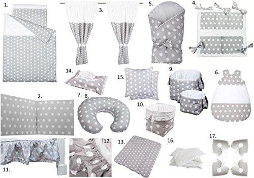 Vizaro - Pack Textil Ropa Hogar Bebé Completo 24 artículosCuna 60x120cm - Algodón Puro - Hecho UE, OekoTex - Lunares