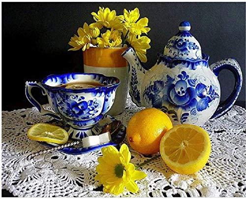 Yingxin34 Rompecabezas 2000 Piezas Rompecabezas de Papel Adultos Rompecabezas Tetera Taza Lemonchildren Arte DIY Juego de Ocio Juguete Divertido Adecuado Familia Amigos 100x70cm