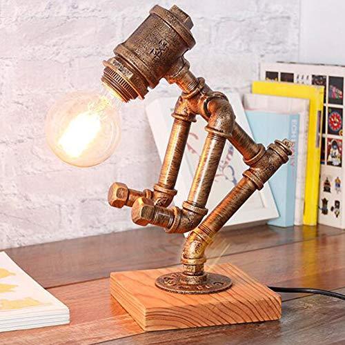 Steampunk Industrielampe, Vintage Weinkeller Roboter, Spirits Weinregal für Schlafzimmer Wohnen, Esszimmer, Cafe Bar, Retro Industrie Eisen Wasserpfeifen Roboter Tischlampe (ohne Glühbirne)