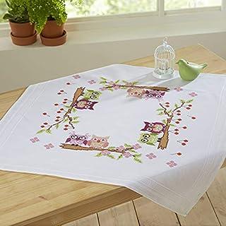 Kamaca Stickpackung VERLIEBTES EULENPAAR Kreuzstich vorgezeichnet aus 100% Baumwolle zum Selbersticken Mitteldecke 80 cm x 80 cm
