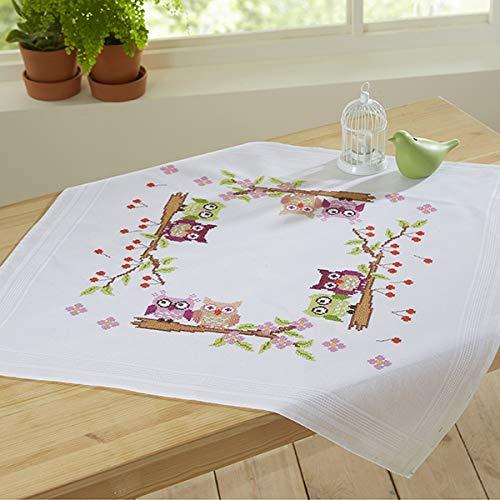 Kamaca Stickpackung VERLIEBTES EULENPAAR Kreuzstich vorgezeichnet aus 100% Baumwolle zum Selbersticken (Mitteldecke 80 cm x 80 cm)