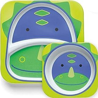 Skip Hop Zoo Little Kid & Toddler Melamine Feeding Divided Plate, Multi, Dakota Dinosaur