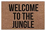 Alfombra de entrada Welcome to The Jungle Entrance Carpet Raspador de zapatos Super Grip Base de goma lavable a máquina, 31.5 x 19.7 pulgadas, color marrón
