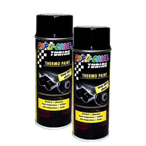2X DUPLI-Color Thermo-Lack Black GLÄNZEND 300°C HITZEBESTÄNDIG Lack Spray 400 ML