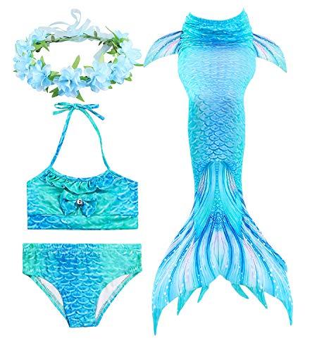 HiFunBay cola de sirena niña para nadar incluido Traje de sirena baño de bikini de 3 piezas y diadema con guirnaldas de flores (DH06-B08,130)