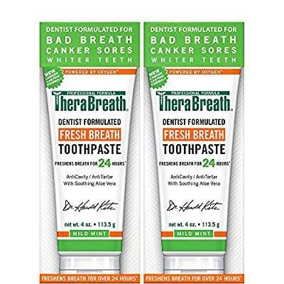 TheraBreath Fresh Breath Toothpaste, Mild Mint Flavor, 4 Ounce Tube (Pack of 2)