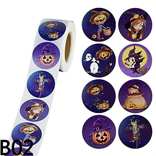 AJULING 500 unids/Rollo 3,8 cm Decoración de Halloween Etiqueta de Regalo Etiqueta de Sellado Etiqueta Adhesiva calcomanía for Bolsas de Caramelo sobre sobre Bricolaje (Color : B02, Size : 1pc)