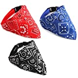 umorismo 3 Pack Dog Bandana Collar Boho Pet Scarf Neckerchief Triangle Dog Bibs Kerchief Adjustable Strap Bandana for Dogs, Puppy, Medium