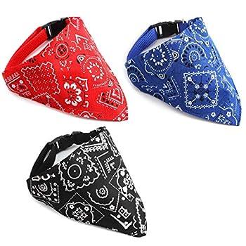 Firtink Lot de 3 bandanas réglables pour chien, chat, chiot, bandana pour animaux de compagnie de petite et moyenne taille