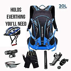 519zmQZJL+L. SS300  - GemCoo Mochila Ciclismo Bicicleta 20L Impermeable Hidratación de Agua Respirable Impermeable Ultraligero con Cubierta de…