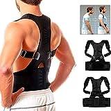 ANANDAYA Corrector de Postura para Espalda y Hombros para Aliviar el Dolor de Columna Cinta Ajustable y Cómoda Sujeción Cinturón Corrección de Postura Respirable para Mujeres y Hombres(L (88-97cm))