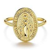 Sllaiss Bague en Argent Sterling 925 avec Médaillon Vierge Marie Bague Ajustable pour Femme Homme Plaqué Or 18K Hypoallergénique