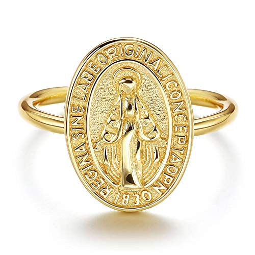 Sllaiss Anillo de plata de ley 925 medallón Virgen María Ajustable Anillo para Mujer Hombre Chapado en Oro 18K Hipoalergénico