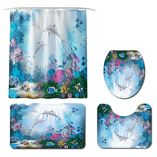 Ocean Dolphin Shower Curtain Set Shower Curtain with 12 Hooks,Bathroom Rugs Sets Ocean Theme Decor Non-Slip Rugs (C, One Size)