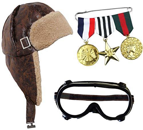 I LOVE FANCY DRESS LTD Conjunto DE Aviador con Gafas DE PILOTO, MEDALLAS Doradas Conjunto TEMATICO para Adultos