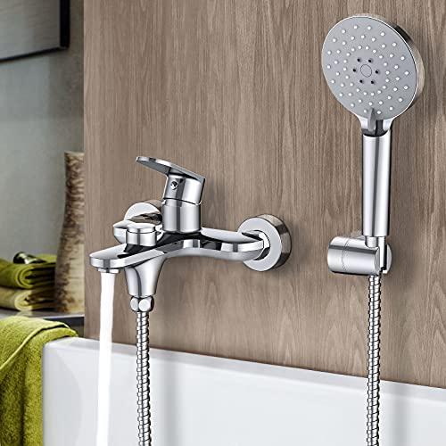 Synlyn rubinetto per vasca con doccetta, pulsante per vasca da bagno rubinetto per doccia miscelatore in ottone cromato per vasca da bagno rubinetto per doccia a parete per bagno doccia