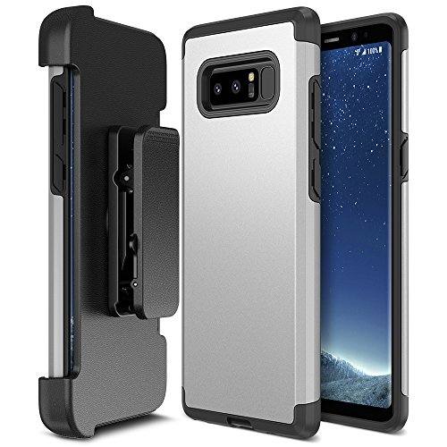 Galaxy Note 8 Case Holster, Trianium [Duranium Series] Heavy Duty Protective Cover with Belt Clip and Kickstand for Samsung Note 8 Phone [Extreme Protection]- Silver