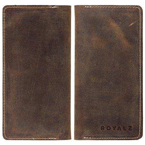ROYALZ Tasche Portemonnaie Geldbörse Schutz Hülle Cover Sleeve Universal (4.6-5.0 Zoll) Leder Antik Braun