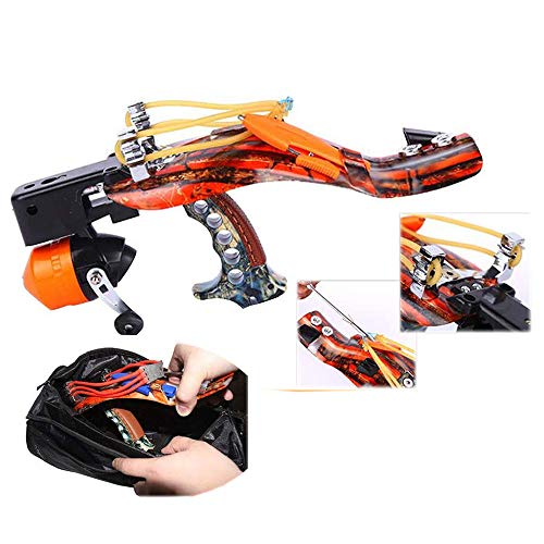 Blue-Ra Fishing Hunting High Velocity Slingshot Catapult Kit with Infrared Sight&Fishing Reel Magnetic Ammo Pouch and Arrow Pouch (with Cylinder Sports Bag)
